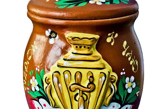 Крынка керамическая с мёдом 0,5 кг
