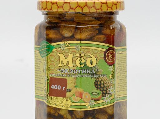 """Мед """"Экзотика"""" с цукатами и орехами 0,4 кг"""