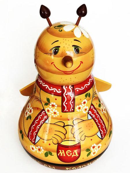 Бочонок деревянный с мёдом Пчёлка 0,7 кг