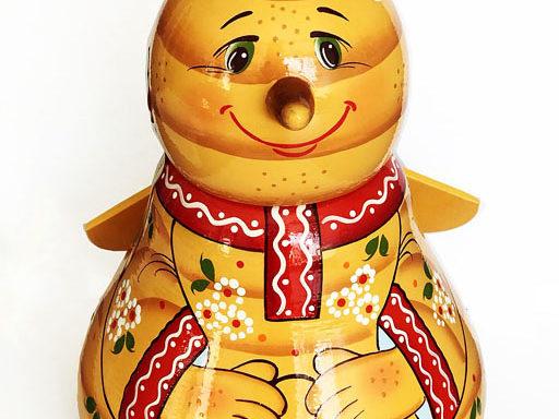 """Бочонок деревянный с мёдом """"Пчёлка"""" 0,7 кг"""