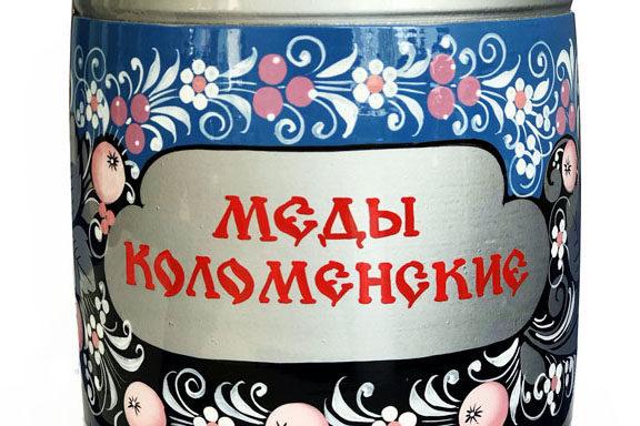 """Бочонок деревянный с мёдом """"Хохлома голубая"""" 1,5 кг"""