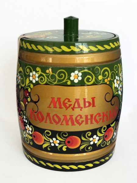 Бочонок деревянный с мёдом Хохлома голубая 0,8 кг