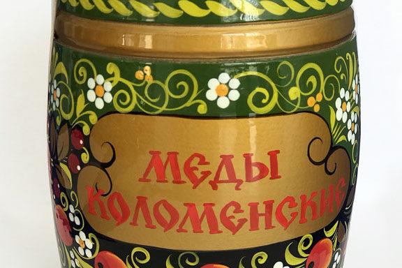"""Бочонок деревянный с мёдом """"Хохлома голубая"""" 0,8 кг"""